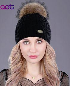 14952bfe Adrien's Shop - Soft cashmere women's knited winter cap skullies beanies  fur pom pom hats Winter