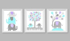 Elephant Nursery Decor, Aqua Grey Lavender, Girl's Room Decor, Baby Shower Gift, Elephant Canvas Art, Nursery Canvas Decor, Purple Elephants by SweetPeaNurseryArt on Etsy