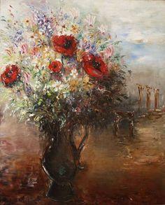 reuven rubin | Reuven Rubin, Flower Bouque, Oil on canvas, 82x66 cm.
