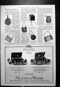 Old Original Antique Victorian Print  Fashions Bags Harvey Nichols Mappin Webb F