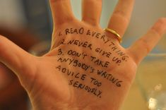 Writing Advice Written on Writers' Hands - Lev Grossman