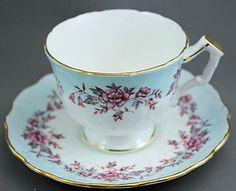 AYNSLEY Tea Cup and Saucer / BLUE BORDER WITH PINK FLOWERS