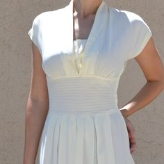 Stunning 1940's Ivory Custom Vintage Wedding Dress  by rooplusroo, $350.00