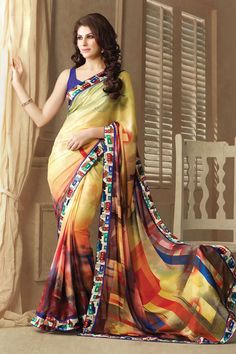 Fawn Designer Party Wear Sarees From Onlinesareessshopping.com