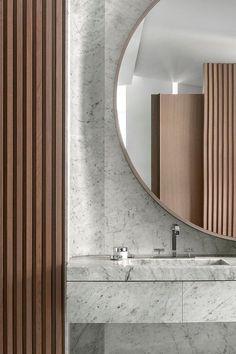 New Ideas For Bathroom Marble Wood Round Mirrors Beautiful Bathrooms, Modern Bathroom, Small Bathroom, Master Bathroom, Bathroom Marble, Eclectic Bathroom, Vanity Bathroom, Budget Bathroom, Bathroom Styling