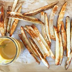 Oven fries with honey mustard tahini dressing (mix 4TB dijon + 2TB tahini + 2TB raw honey + 1TB apple cider vinegar + squeeze of lemon juice and water to thin)