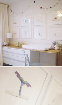 The use of framed art is a good idea for a room that might require some change in the near future because you can easily change the artwork as your child' interests evolve, while still keeping the look of the room similar.