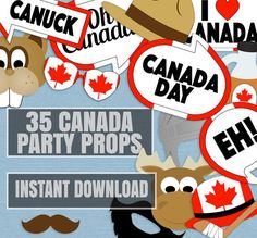 35 Canada Party props, canadian theme party printables, decor for canada day party, canuck photo boo Canada Day Party, Canada Day 150, Party Props, Party Themes, Diy Fotokabine, Goodbye Party, Mika, Canadian Thanksgiving, Printable Frames