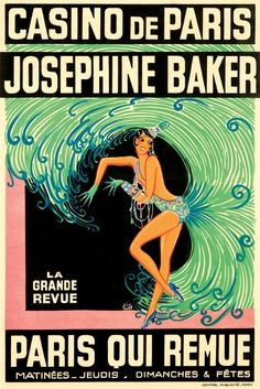 France - Josephine Baker - Casino de Paris Qui Remue - (artist: Zig Louis Gaudin c. 1930) - Vintage Advertisement (36x54 Giclee Gallery Print, Wall Decor Travel Poster) * See this great image  : Dining Entertaining