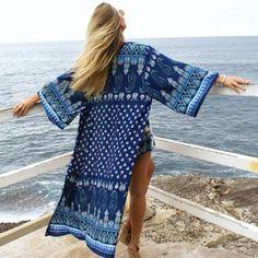 Dreamscape Maxi Boho Kimono Navy Blue Seaside Print Wide Sleeves Full Length One Size