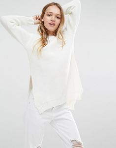 Daisy+Street+Ribbed+Knitted+Jumper+with+Side+Splits