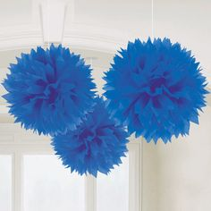 Blue poms to put on chairs at ceremony and maybe blue and white ones for the favour boxes