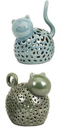 Whimsical Cat Tea Light Holders - Set of 2 and like OMG! get some yourself some pawtastic adorable cat apparel! Ceramic Clay, Ceramic Pottery, Ceramic Animals, Tea Light Holder, Clay Projects, Crazy Cat Lady, Tea Lights, Candle Holders, Yankee Candles
