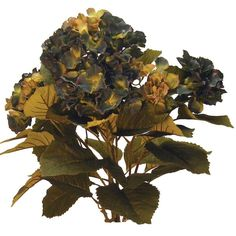 1 Pc, 24 Inch Tall Artificial Hydrangea Bush In Blue & Green 7 Heads Great Filler For Late Summer & Fall Decorations