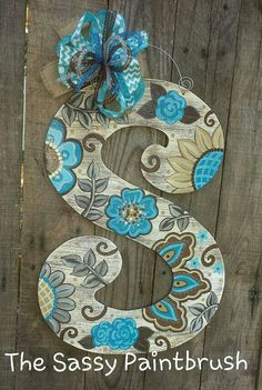 Best 12 This gorgeous neutral design with a POP of blue and turquoise make any door sparkle! 22 inches We can cut any letter! ***Specify your letter in the comments of your order at checkout.*** *** Ready to hang straight out of the box. All of our wooden Letter Door Hangers, Door Letters, Wooden Door Hangers, Monogram Letters, Painted Wood Letters, Painted Doors, Wooden Letters, Wooden Door Signs, Wooden Doors