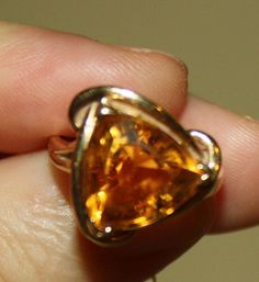 VINTAGE 14K YELLOW GOLD CITRINE RING SIZE 6 -- LOWER PRICE #Solitaire