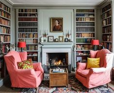 Library Room, Dream Library, Cozy Library, Home Library Design, House Design, Home Library Decor, Home Office, Interior Office, Living Room Decor