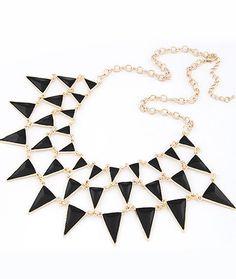 Black Gemstone Gold Triangle Chain Necklace 6.60