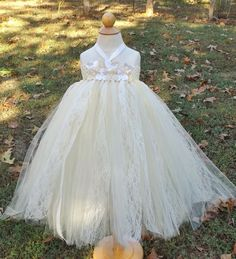 Rustic flower girl tutu dress, ivory and beige tutu dress with lace and burap flawers