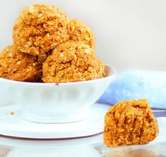 No-Bake Pumpkin Oatmeal Cookie Dough Balls: http://chocolatecoveredkatie.com/2012/08/20/no-bake-pumpkin-oatmeal-cookies/