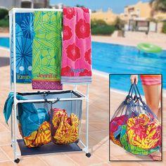 Rolling Towel Rack & Hamper $42.99