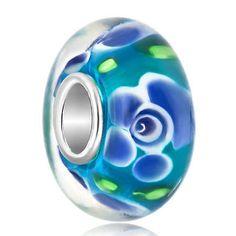 C..19 Bead Light Amethyst Flower Garden Sapphire Murano Charm For E03 Bracelet V48