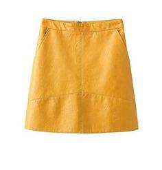 Gizmosy! Winter High Waist Skirts PU Faux Leather Women Skirt Pink Yellow Sexy Slim Zipper Skirts 2016 Autumn New BN050