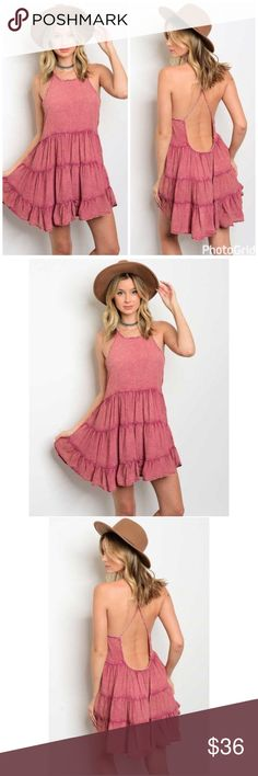 New!! Dusty Rose Chambray Tiered Open Back Dress New!! Dusty Rose Chambray Tiered Open Back Dress. Fabric 100% polyester. No Trades. Price is Firm Unless Bundled. GlamVault Dresses Backless