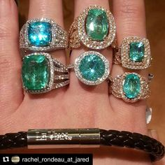 @levian_jewelry.  We know how much you  the green blue hue of #LeVian Neon Blue #ParaibaTourmaline so couldn't resist #reposting this sweet closeup by @rachel_rondeau_at_jared Wow! #onedayevent #jewelry #diamonds #gold ・・・ Look at the lovely collection of  the Pariba tourmaline! With different shades of blue, there are so may choices! #jaredthegalleriaofjewelry