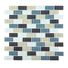 Jeffrey Court Shoreline Brick $8.97 12 in. x 12 in. x 8 mm Glass Mosaic Wall Tile-99186 - The Home Depot