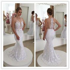 Stunning Princess Mermaid V Neck Empire Waist White Lace backless Wedding Dresses Custom u