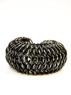 """Chainmaille Dragonscale cuff, black and silver. 150$, via Etsy - by """"Sky Cubacub"""""""