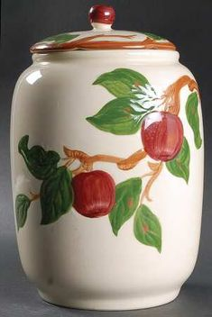Fanciscan apple cookie jar. My mom used to paint this pattern to work her way through college.