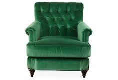 Acton Tufted Chair, Emerald-Green Velvet-One Kings Lane