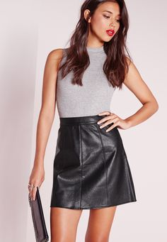 Faux Leather A Line Mini Skirt Black - Missguided