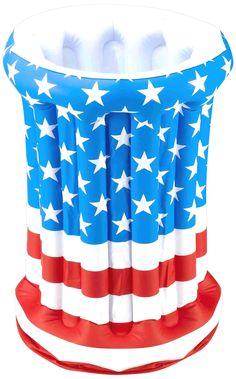 Forum Novelties July 4th Independence Day Stars Stripes American US Flag Patriotic Inflatable Drink Cooler