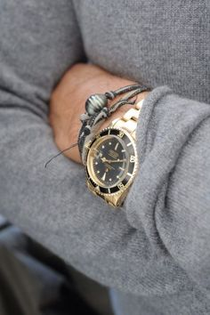 I love combining a watch and bracelets on one wrist. I especially love the relaxed sweater with the fashionable watch, it brings luxury to the personable level, while also dressing up an everyday sweater.
