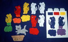 Children's Preschool MOUSE PAINT Flannel Board Felt Story Set and BONUS. $8.00, via Etsy.