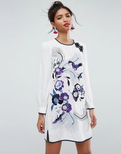Buy it now. ASOS PREMIUM Embroidered Mini Shift Dress with Blouson Sleeve - Multi. Dress by ASOS Collection, Textured woven fabric, Crew neck, Embroidered detailing, Blouson sleeves, Side splits, Button-keyhole back, Regular fit - true to size, Machine wash, 100% Viscose, Our model wears a UK 8/EU 36/US 4 and is 179cm/5'10.5 tall. Score a wardrobe win no matter the dress code with our ASOS Collection own-label collection. From polished prom to the after party, our London-based design team…