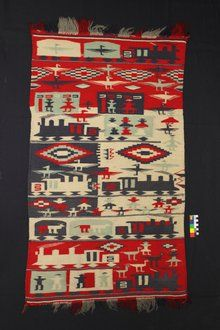 MASTERPIECE----Railway Blanket By: Unidentified Navajo woman Date: Between 1885 and 1902 Materials: Wool, aniline dyes Size: About 24 inches by 48 inches Location: San Diego Museum of Man, 1350 El Prado, Balboa Park PHOTO: San Diego Museum of Man Native American Blanket, Native American Photos, Native American Artists, Native American Beading, Native American Indians, Native Americans, Navajo Weaving, Navajo Rugs, Textiles