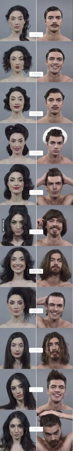 100 Years of Beauty in USA (Men and Women) - Frisur Ideen Beauty Makeup, Hair Beauty, Diy Beauté, How To Draw Hair, Vintage Hairstyles, Men Hairstyles, Fashion Hairstyles, Drawing People, People Drawings