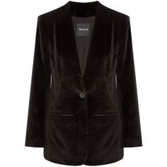 Madewell Cotton-blend velvet blazer (10.890 RUB) ❤ liked on Polyvore featuring outerwear, jackets, blazers, black, collarless jackets, madewell blazer, collarless blazers, structure jacket and blazer jacket