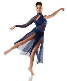 Leotard With Attached Skirt: Navy stretch mesh, navy sequin lace, nude spandex, and navy spandex ; Asymmetrical Shrug: (Removable) Navy mesh and navy sequin lace ; Modern Contemporary Dance, Contemporary Dance Costumes, Modern Dance, Dance Costumes Lyrical, Lyrical Dance, Ballet Costumes, Jazz Shoes, Dance Tights, Dance Poses