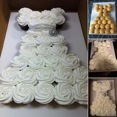 Make an Amazing Wedding Dress Cupcake Cake for Bridal Shower