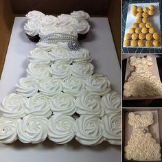 Make an Amazing Wedding Dress Cupcake Cake for Bridal Shower