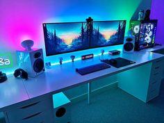 Computer Desk Setup, Gaming Room Setup, Pc Setup, Hypebeast Room, Best Gaming Wallpapers, Bedroom Setup, Desk In Living Room, Home Office Setup, Game Room Design