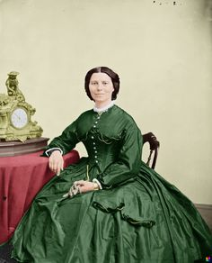 """Clarissa Harlowe """"Clara"""" Barton c. 1866. Known as the """"Angel of the Battlefield"""", she worked as a nurse on the front lines during the Civil War. During the Franco-Prussian War she helped with the preparation of military hospitals. She was awarded the Golden Cross of Baden and the Prussian Iron Cross. On 21 December 1881 she founded the American Red Cross."""