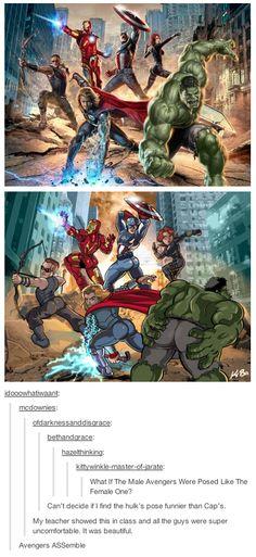 If the male avengers posed like the female avengers