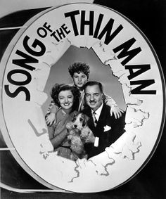 """Myrna Loy, Dean Stockwell, William Powell and Asta publicoty still for """"Song of the Thin Man"""""""