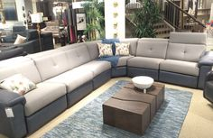 Sacha, Big sectional with leather and fabric combo./ Grand modulaire recouvert en combo tissu et cuir. Made in Canada by Jaymar.